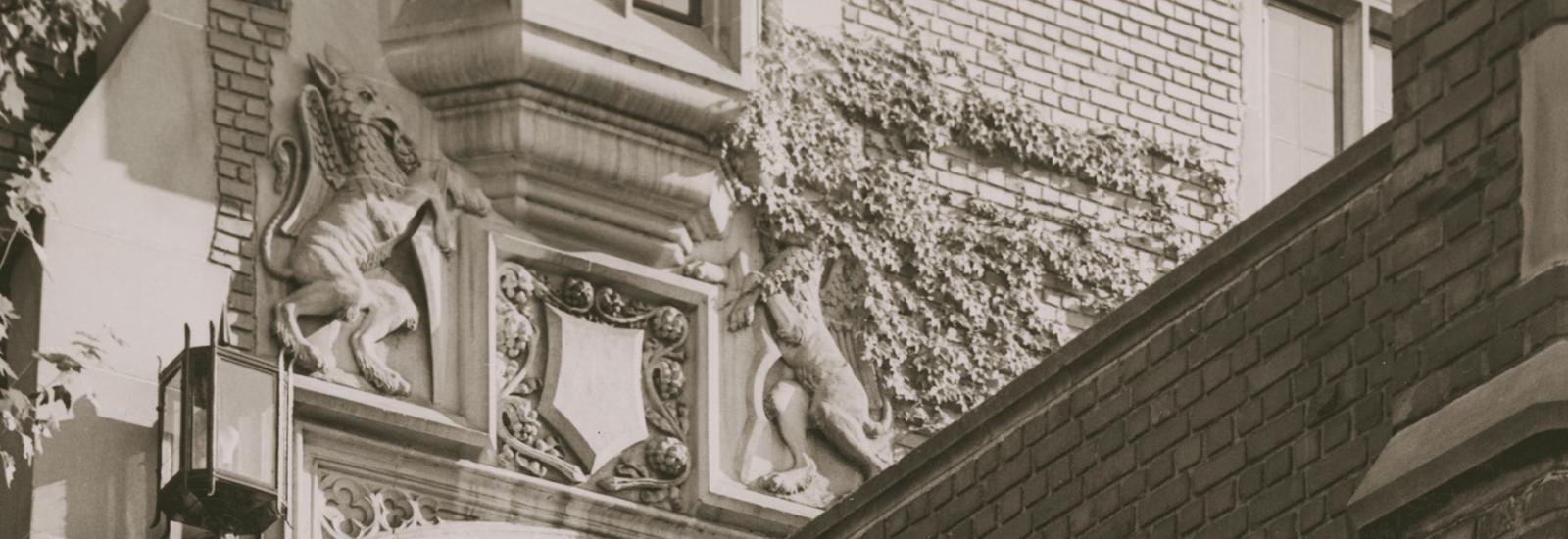 Photo of stone griffin architectural detail on Pomerene Hall